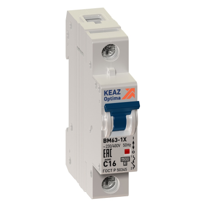 Выключатель автоматический модульный OptiDin BM63-1C16-УХЛ3 (ВМ63)