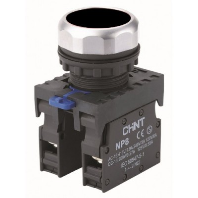 Кнопка управления NP8-11BN/2 без подсветки, чёрная 1НО+1НЗ IP65  (CHINT)