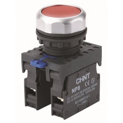 Кнопка управления NP8-11BN/4 без подсветки, красная  1НО+1НЗ IP65  (CHINT)