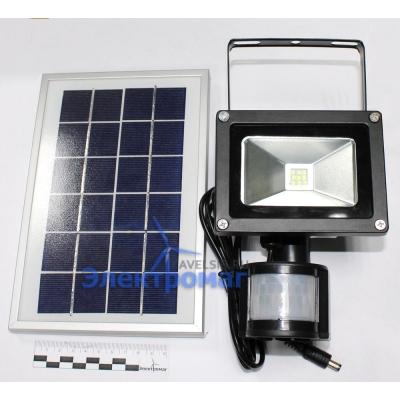 Светодиодный прожектор 10 Вт 6000 К IP65 на солнечной батарее